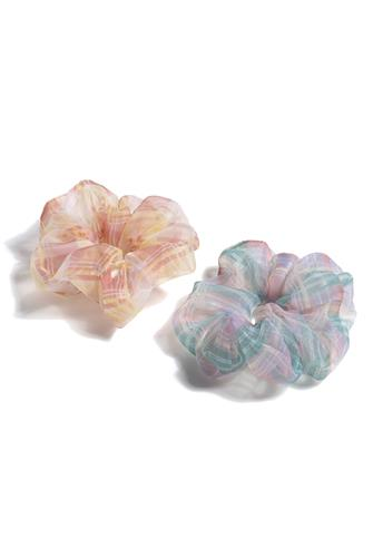 Plaid Oversized Scrunchie Two Pack MULTI