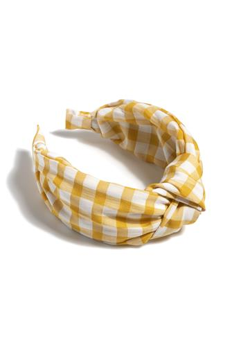 Knotted Gingham Plaid Headband YELLOW