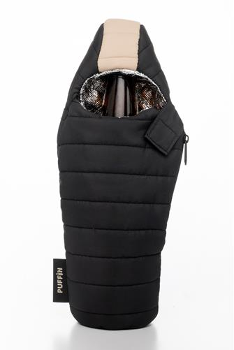 Black & Tan Beverage Sleeping Bag Koozie BLACK