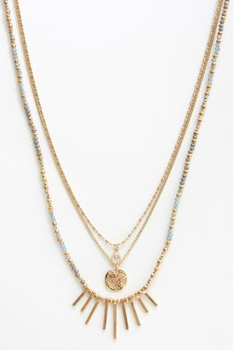 Multi Layer Bead Stone Necklace BLUE MULTI -
