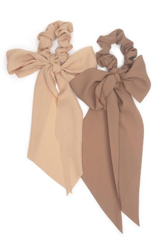 Terracotta Crepe Scarf Scrunchie Two Pack PINK MULTI -