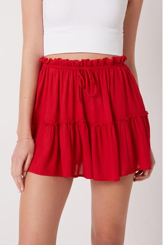 Red Tiered Flirty Skirt RED