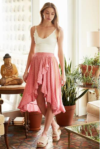 Tea Rose Hi-Lo Ruffle Skirt PINK MULTI -