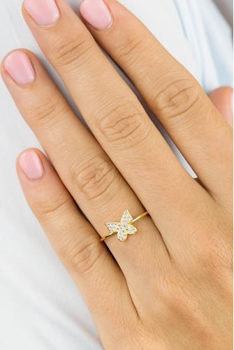 Pave Dainty Butterfly Ring GOLD