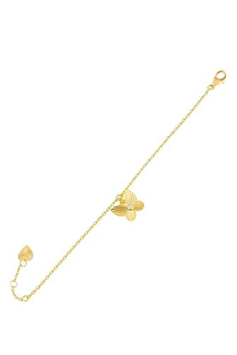 CZ Ridged Butterfly Bracelet GOLD