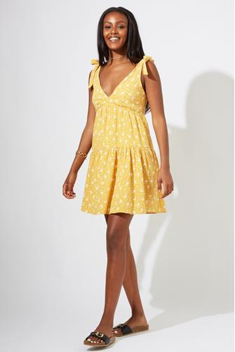 Yellow Floral Tie Strap Mini Dress YELLOW MULTI -