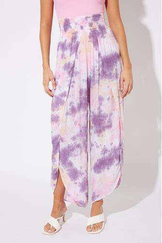 Tie Dye Smocked Wrap Pant PURPLE MULTI -