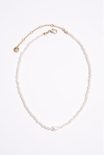 Beaded Pearl Pendant Necklace CHAMPAGNE