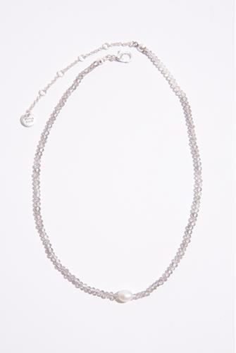 Grey Beaded Pearl Necklace SILVER