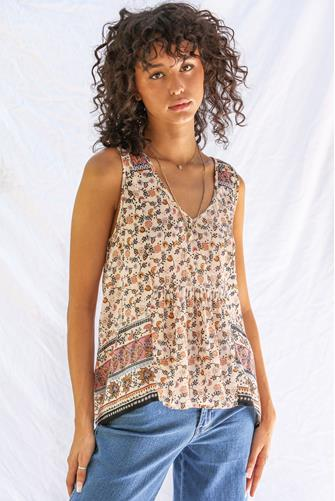 Patchwork Paisley Sleeveless Top TAN