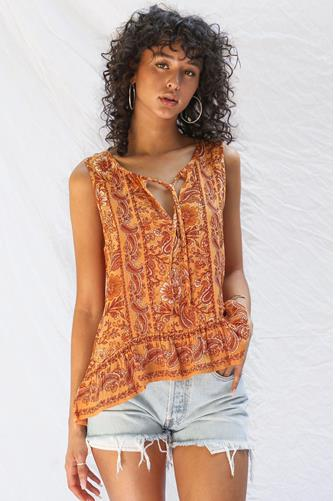 V-Neck Sleeveless Paisley Top ORANGE