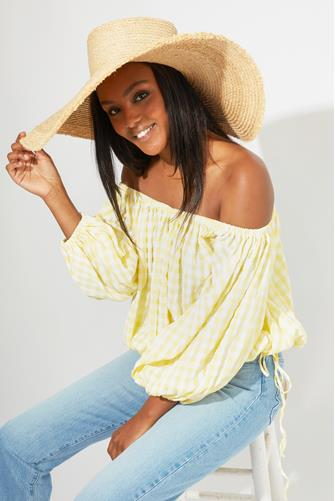 Gingham Off Shoulder Top YELLOW