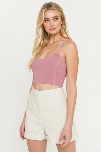 Cropped Sweater Tank Top MAUVE