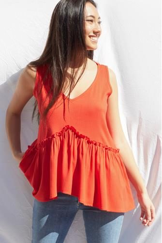 Tiered Bottom Tank Top RED