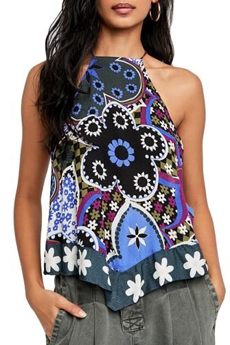 I Dare You Halter Tank Top BLACK MULTI -