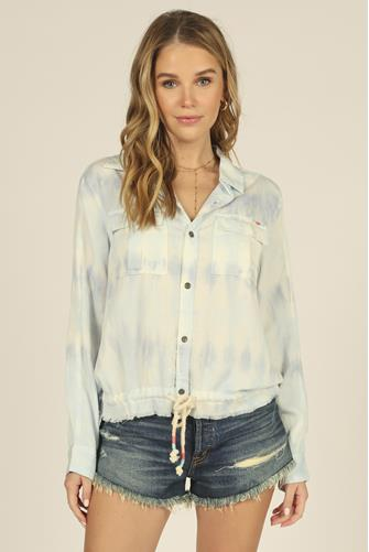 Stripe Tie Dye Button Down Shirt LITE BLUE