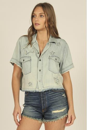 Star Applique Denim Shirt DENIM