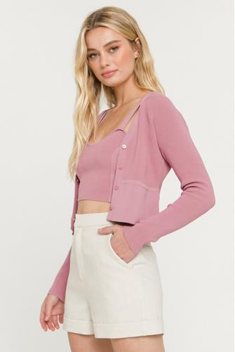 Cropped Cardigan MAUVE