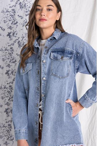 Button Down Denim Shirt Jacket DENIM