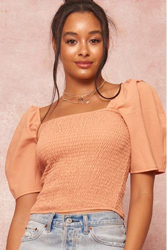 Square Neck Smocked Body Top RUST