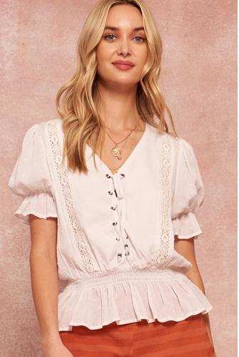 Lace Up Short Sleeve Blouse OFF WHITE