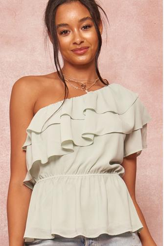 One Shoulder Ruffle Tank Top SAGE