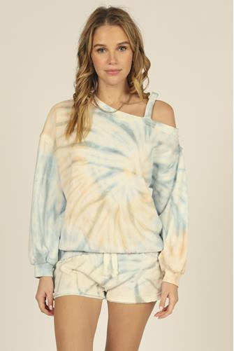 Burnout Tie Dye One Shoulder Sweatshirt MULTI