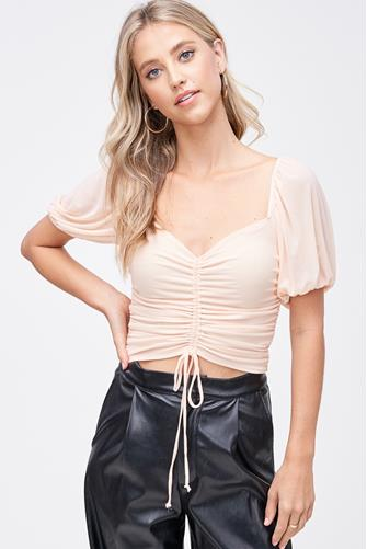 Ruched Front Mesh Short Sleeve Blouse PINK
