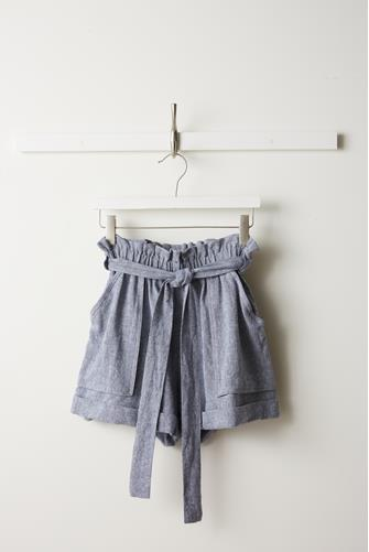 Linen Blend High Waist Short BLUE