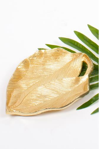 Gold Twin Leaves Trinket Tray GOLD