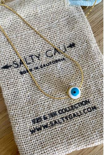 Mini Blue Evil Eye Necklace GOLD