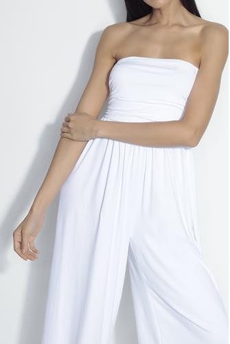 Strapless Ruched Jumpsuit WHITE