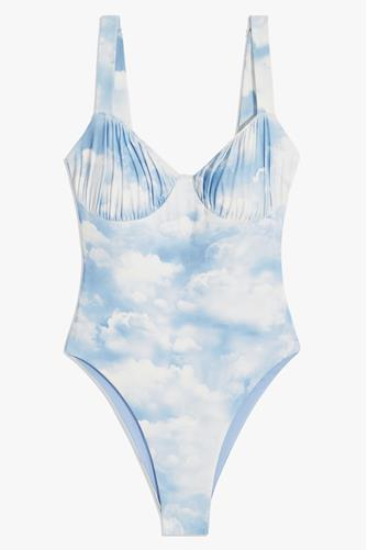 Clouds Ruched Cup One Piece Swimsuit BLUE MULTI -