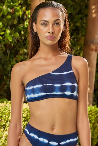 Iconic Tie Dye Asymmetrical Bikini Top BLUE MULTI -