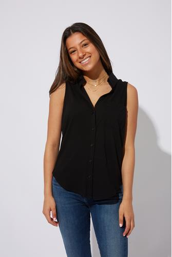 Collared Button Down Knit Tank Top BLACK