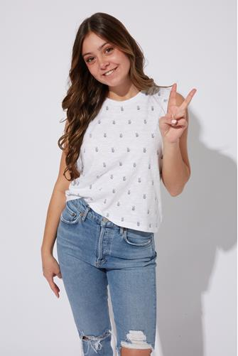 Peace Sign Boxy Tank Top WHITE