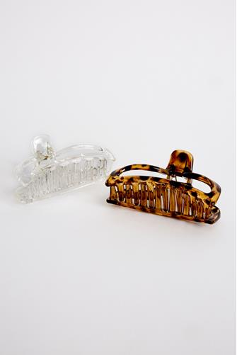Large Claw Hair Clip Two Pack MULTI