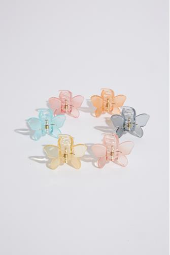 Mini Butterfly Pastel Claw Clip Six Pack MULTI