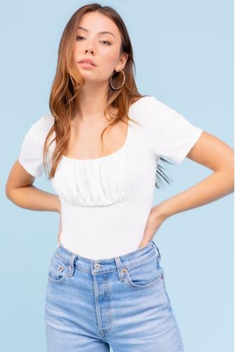 White Ruched Front Ribbed Bodysuit WHITE