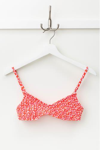 The Rachel Smocked Ditsy Floral Bikini Top RED MULTI -