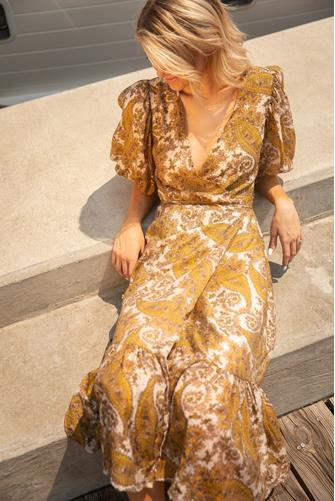 Sistan Wrap Midi Dress YELLOW MULTI -