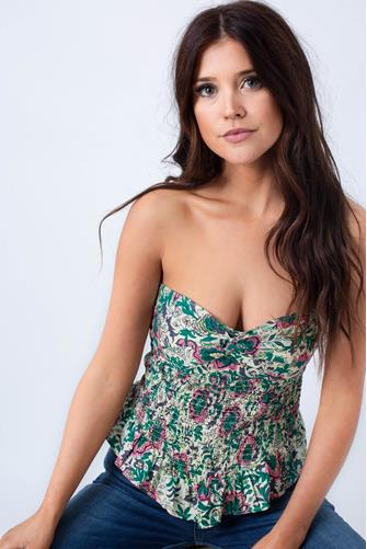 One More Time Tube Top GREEN MULTI -