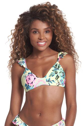 New Found Love Halles Bralette Bikini Top YELLOW MULTI -
