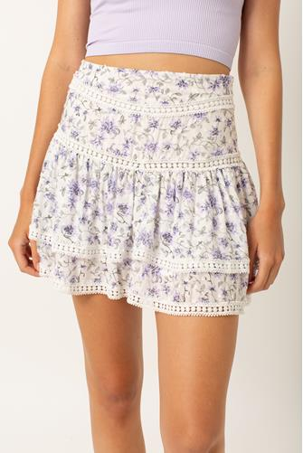 Purple Floral Tiered Mini Skirt PURPLE MULTI -