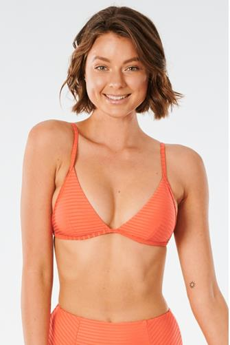 Premium Surf Bright Red Banded Fixed Tri Bikini Top RED