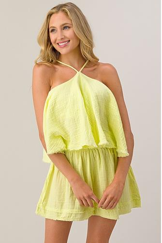 Gauze Halter Tank Top LIME