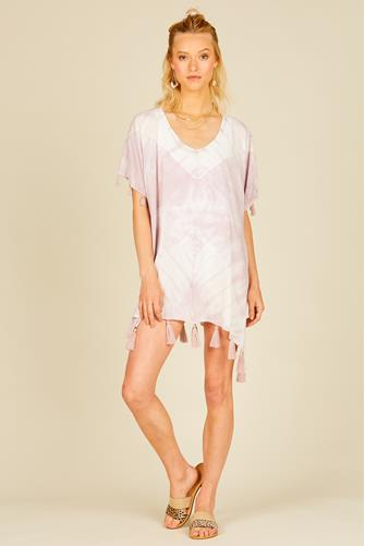 Lilac Tie Dye Tassel Cover Up LILAC