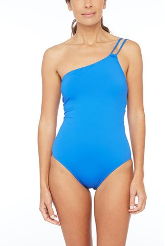 Island Goddess One Shoulder One Piece Swimsuit BLUE