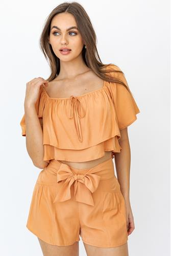 Orange Ruffle Top ORANGE