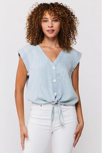 Perrie Chambray Tie Front Top LITE BLUE